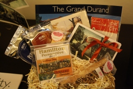 A gift basket with some of the items for sale at The Hamilton Store